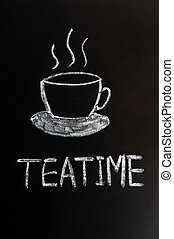 Teatime - Chalk drawing of teatime with a cup on a...