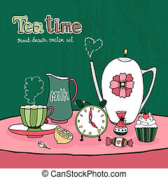 Teatime Party Card or Invitation vector design with a teapot cup and saucer milk jug sugar sweets and cake together with a clock showing time for afternoon tea on a pretty pink tablecloth