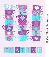Teatime Poster - Illustration of cute tea cups stacked in...
