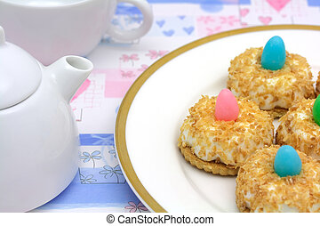 Teatime with coconut cakes - shallow DOF