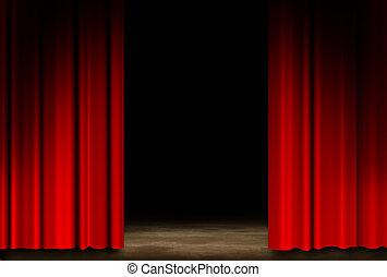 teatr, czerwony, rusztowanie