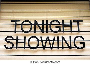 teatr, film, znak, tradycyjny, reklama, spełnienie, najnowszy