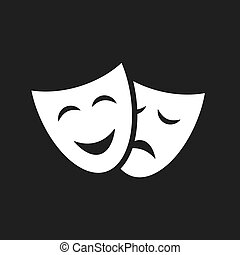 teatr, ikona, wektor, maski