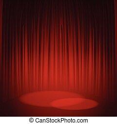 teatr, ilustracja, wektor, curtain., czerwony, rusztowanie