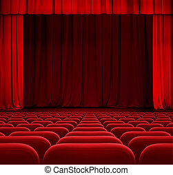 teatr, kino, drapuje, siedzenia, kurtyna, albo, czerwony