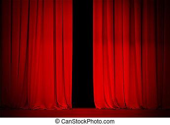 teatr, kino, lekko, kurtyna, otwarty, albo, czerwony,...