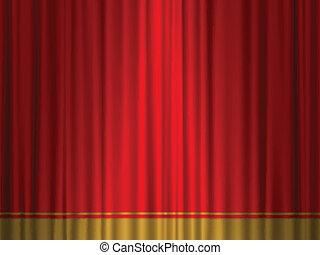 teatr, kurtyna, czerwony, złoty
