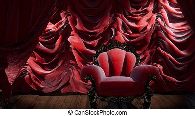 teatr, luksusowy, krzesło, kurtyna, rusztowanie