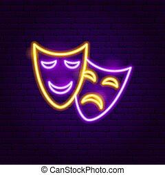 teatr, neon, maski, znak