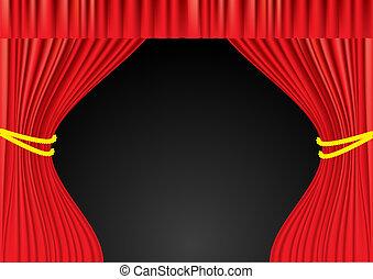 teatr, oczko, curtains., czerwony