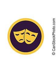 teatr, odizolowany, maski, smutny, tło., wektor, ilustracja, biały, szczęśliwy