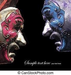 teatr, rocznik wina, maski, czarne tło, tragedia