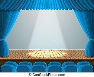 teatr, strumienica, rusztowanie