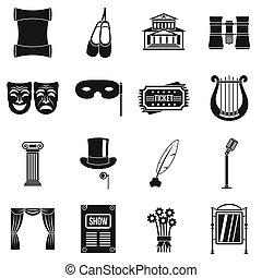 teatr, styl, komplet, naturalne ikony