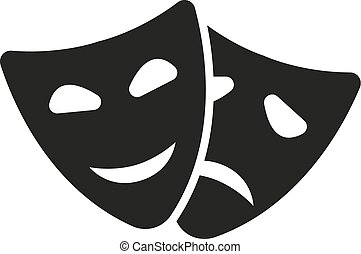 teatr, tragedia, dramat, icon., komedia, symbol., maska, ...