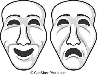 teatr, wektor, ilustracja, maski, dwa