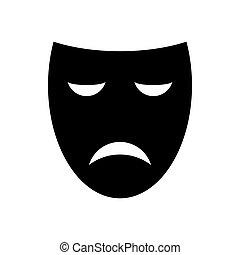 teatr, wektor, maska, ikona