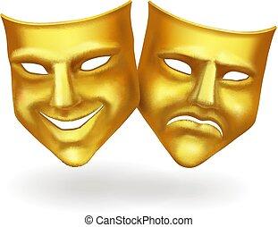 teatr, złoty, ikony, maski, realistyczny, wektor