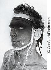 teatral, maquilagem, homem preto, retrato