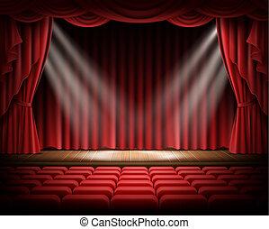 teatral, vacío, escena, cortina roja