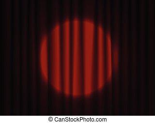 teatrale, drapes., curtain., riflettore, palcoscenico