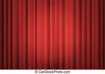 teatrale, drapes., illustrazione, vettore, curtain., riflettore, palcoscenico