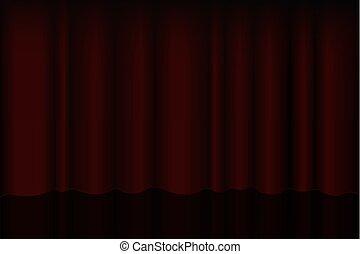 teatrale, esibizioni, tenda, premiere, schermo, vettore, rosso, interno, tenda, riflettore, seats., palcoscenico
