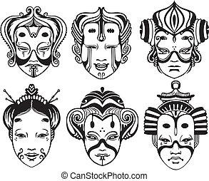teatrale, tsure, noh, giapponese, maschere