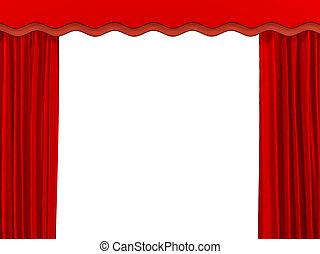 teatralisk, gardin, av, röd, färg