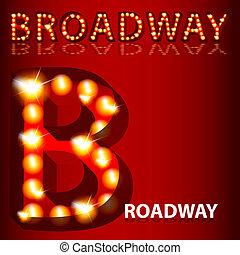 teatralny, broadway, światła, tekst