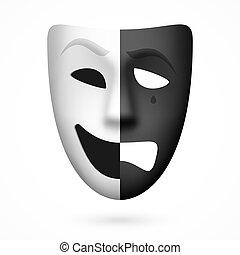 teatralny, komediowa maska, tragedia