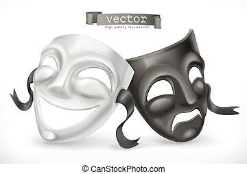 teatralny, masks., tragedia, 3d, wektor, czarnoskóry, biały, komedia, ikona