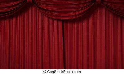 teatralny, otwarcie, czerwona firanka