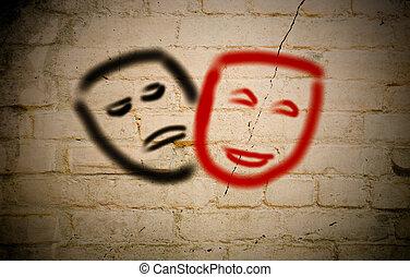 teatralny, pojęcie, komediowe maski, tragedia