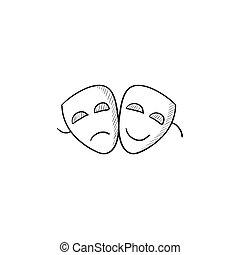 teatralny, rys, icon., maski, dwa