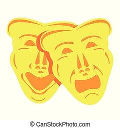 teatralny, złoty, maski