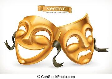 teatralny, złoty, masks., tragedia, 3d, wektor, komedia, ikona