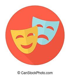 teatralsk, komik, tragedie maskerer