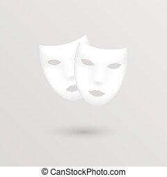 teatro, ícone, masks., vetorial, illustration.