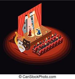 teatro, auditorio, isométrico, composición