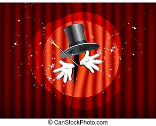 teatro, bacchetta magica, palcoscenico