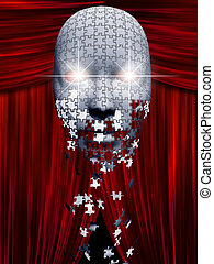 teatro, backgropund, quebra-cabeça, máscara, pedaços, outono...