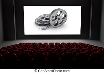 teatro, carretes de película, cine