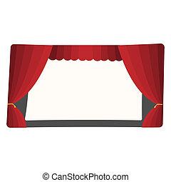 teatro, cartone animato, palcoscenico