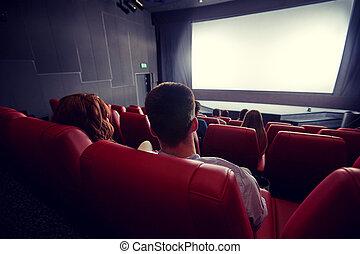teatro, cine, película, pareja, mirar, o, feliz
