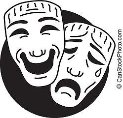 teatro, comédia tragédia, máscaras