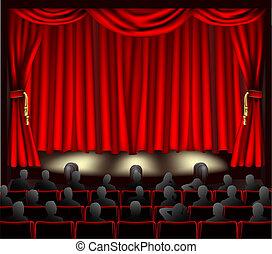 teatro, com, audiência