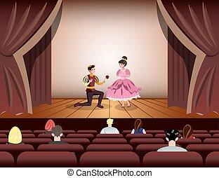 teatro, come, vestito, principessa, attori, principe,...