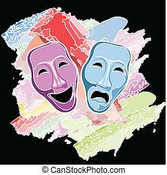 teatro, commedia tragedia, maschere