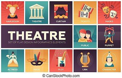 teatro, -, conjunto, de, plano, diseño, infographics, elementos